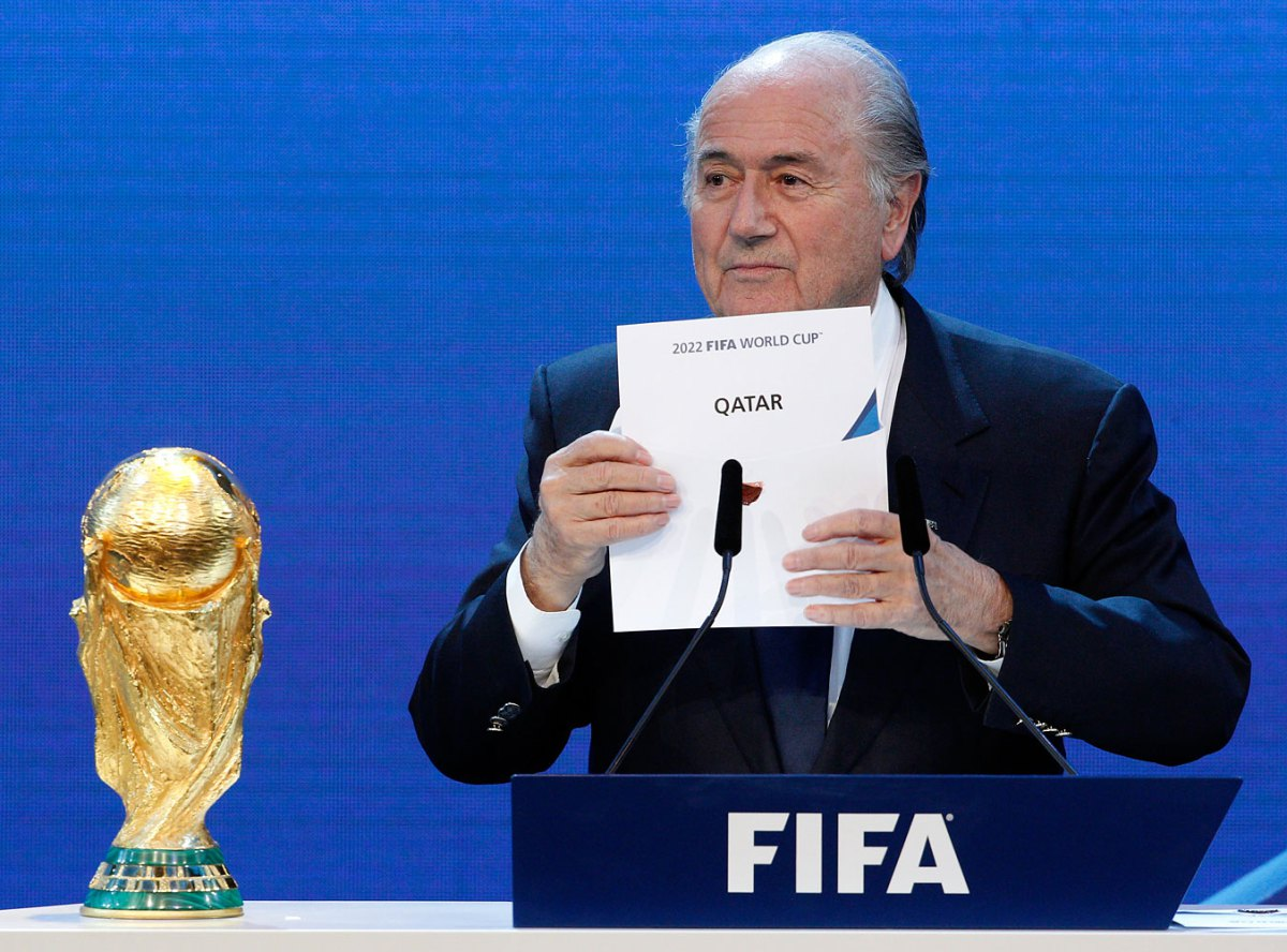 FIFA President Sepp Blatter announces Qatar as the host nation for the FIFA World Cup 2022  in Zurich